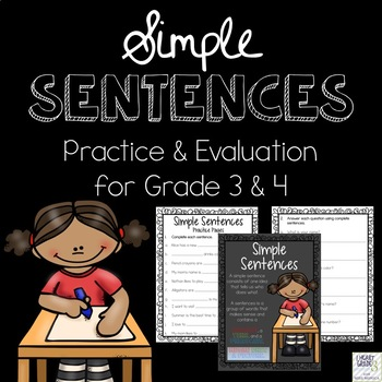 Simple Sentences: Practice & Evaluation for Grades 3 & 4