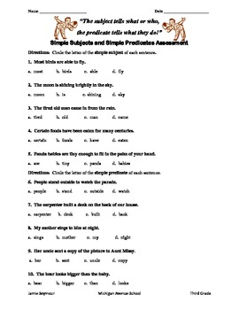 Simple Subject and Simple Predicate Assessement