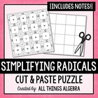 Simplifying Radicals - Cornell Notes & Cut-Out Puzzle Activity
