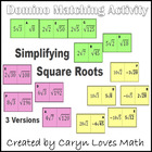 Simplifying/Reducing Square Roots - Domino like Matching Activity