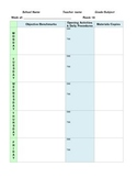 Single Subject Weekly Lesson Plan Template