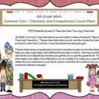 Sixth Grade Common Core Math Checklists and Drop Down Less