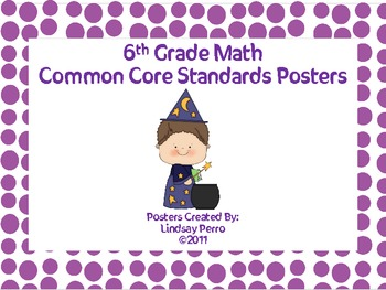 6th Grade Math Common Core Standard Posters