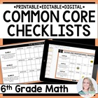 Sixth Grade Math Common Core Standards Checklists