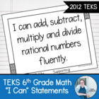 Sixth Grade Math TEKS I Can Statements- 2012 Edition