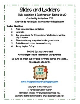 Slides and Ladders--Addition & Subtraction Facts to 20