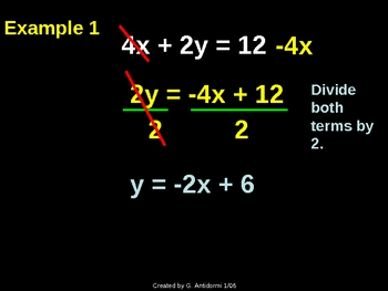 Slope Intercept Form (Graphing, Changing to, Writing in) P