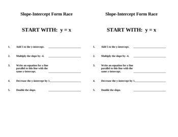 Slope-Intercept Form Relays