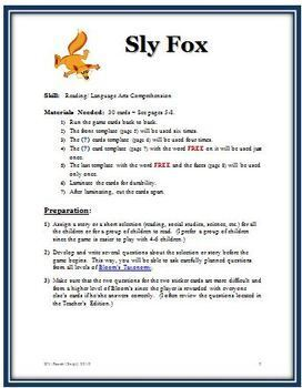 Sly Fox: Reading Comprehension Game for Most Subjects