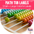 Small Colorful Math Tub Labels