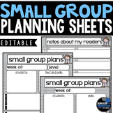 Small Group Planning Sheets -  Editable