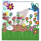 Smartboard Attendance Spring,animated blooming flower garden