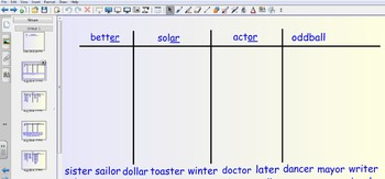 Smartboard Word Sorts - final unstressed syllables -er, -a