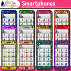 Smartphone Cell Phones Dipped in Glitter Clipart - Math La
