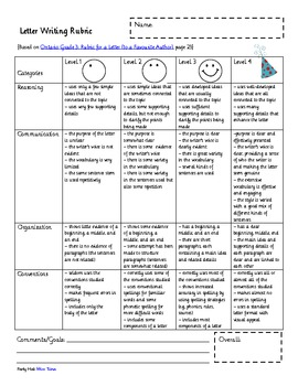 Smiley Writing Poster and Rubric for Letter Writing