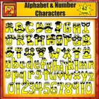 Smiling Alphabet Character Clipart: Capital and lower case