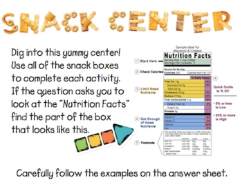 Snack Literacy Center