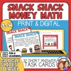 Snack Shack Math Task Cards:32 Cards for Adding &amp; Subtract