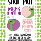 Snail Play:  Digraphs ai and ay Spelling Pattern Sort