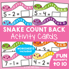Snake Count Back - Math Center Activity Cards Subtraction