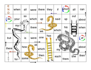 Snakes and Ladders Sight Word Game #3