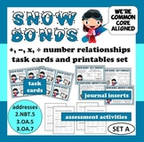 Snow Bonds: +, –, x, and ÷ number relationships task cards