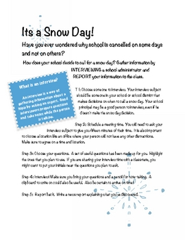 Snow Day!  Interview and Note-taking Activity