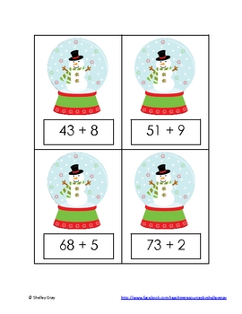 "Snow Globes ""Addition and Subtraction to 1000"" Math Center"