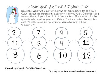 Snow Man Roll and Color 2-12