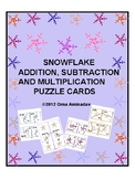 Snowflake Addition, Subtraction and Multiplication Puzzle Cards