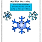 Snowflake Math Facts Matching Game