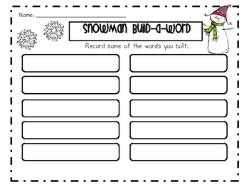 Snowman Build-A-Word and Find the Snowflake Activity