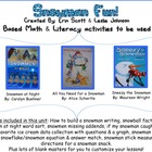 Snowman Fun  {book based literacy & math activities}