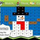 Snowman Hundreds Chart Fun - Watch, Think, Color Game
