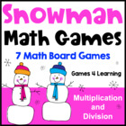 Snowman Math Games Multiplication and Division