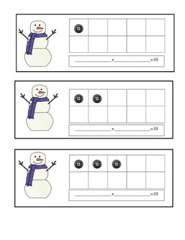 Snowman Ten Frames Math Practice Booklet