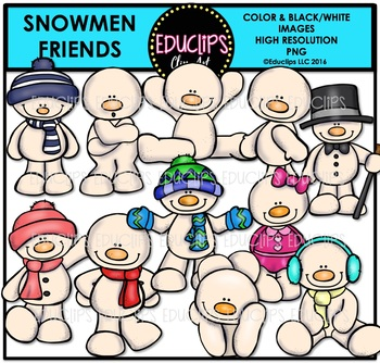 Snowmen Friends Clip Art Bundle