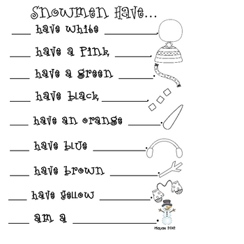 Snowmen Have... A Pocket Chart Story Activity