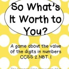 So What's It Worth to You? * Math Center Game on a Digit's