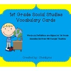 Social Studies 1st Grade Vocabulary Word Wall Cards