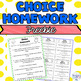 Social Studies Choice Homework Assignment worksheet
