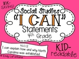 Social Studies I Can Statements (4th Grade, North Carolina