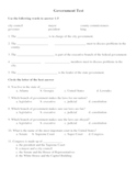 Social Studies: Levels and Branches of Government Test