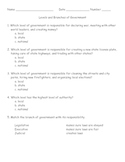 Social Studies Levels and Branches of Government Worksheet