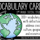 Social Studies Vocabulary Cards {2nd Grade}