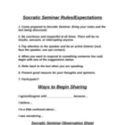 Socratic Seminar Rules/Observation Sheet