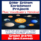 Solar System 3rd, 4th Grade Science Differentiated Project Menu