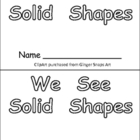 Solid Shapes Kindergarten Emergent Reader- 3-d shapes and 