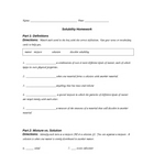 Solubility Worksheet (HW)