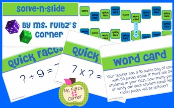 Solve N Slide Math Board Game with Task Cards Level TWO